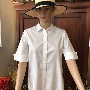 Talbots White Short Sleeve Blouse
